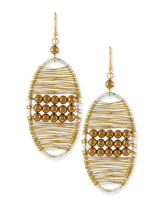 Golden Beaded Wire Wrap Earrings