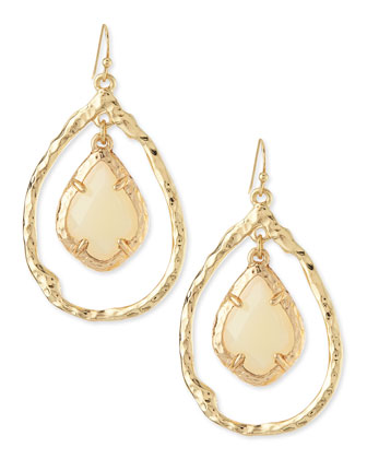 Hammered Teardrop Earrings with Facet