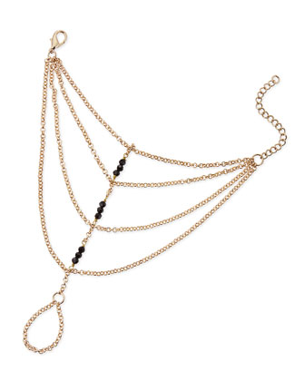 Black Beaded Hand Chain