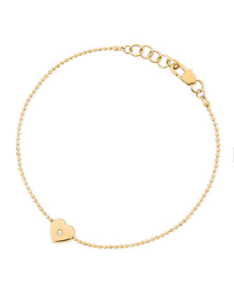 Heart-Charm Bead Bracelet, Golden