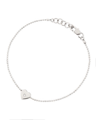 Heart-Charm Bead Bracelet, Silver Color