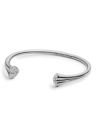 Open Pave-Heart Cuff, Silver Color