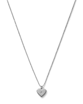 Heart Charm Necklace, Silver Color