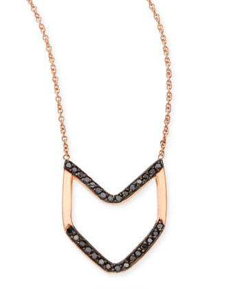 14k Rose Gold Black Diamond Chevron Necklace