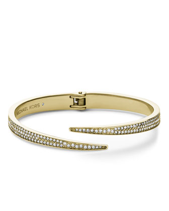 Pave Hinge Open Cuff, Golden