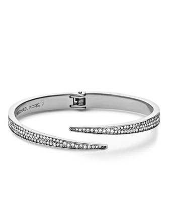 Pave Hinge Open Cuff, Silver Color