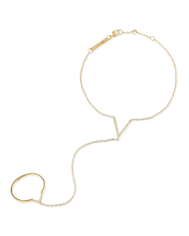 14k Yellow Gold & Diamond V Hand Chain   Zoe Chicco   Gold (14k )