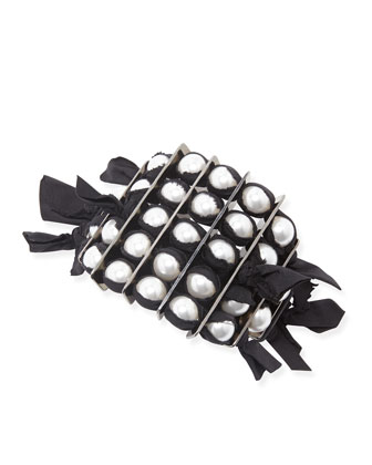 Black Grosgrain Pearly Bracelet