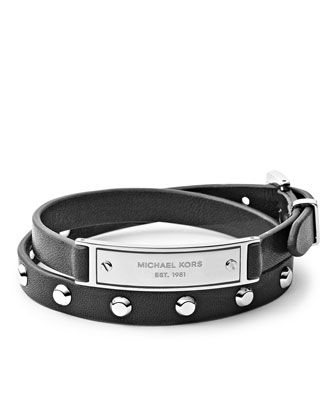 Double-Wrap Leather Bracelet, Black/Silver Color