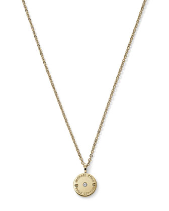 Small Disc Necklace, Golden