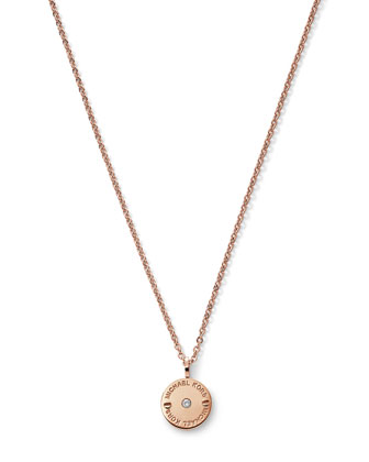 Logo-Etch Disc Pendant, Rose Golden