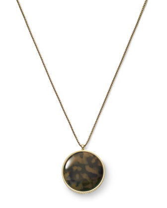 Tortoise Disc Pendant Necklace, Golden