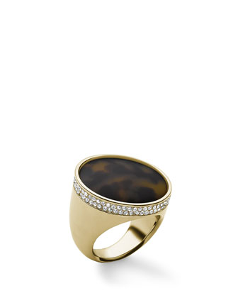 Pave Tortoise Dome Ring, Golden