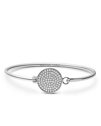 Pave-Crystal Tension Bracelet, Silver Color