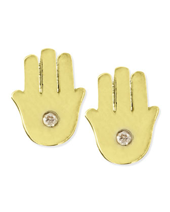 Diamond 14k Vermeil Hamsa Stud Earrings