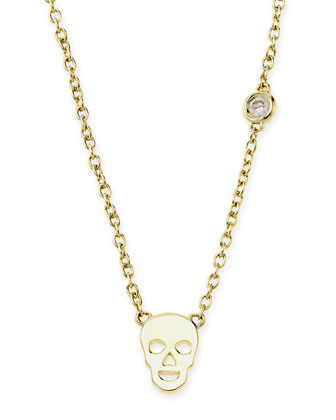 White Gold Skull Pendant Bezel Diamond Necklace