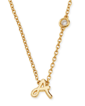 A Initial Pendant Necklace with Diamond