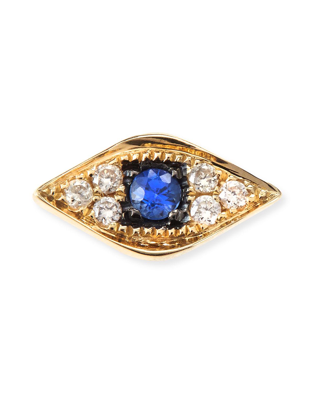 14k Yellow Gold Diamond Evil Eye Single Stud Earring   Sydney Evan   Gold (14k )