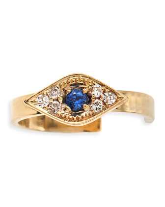 Single Evil Eye Earring Cuff with Sapphires and Diamonds