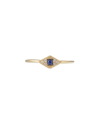 14k Yellow Mini White Diamond Evil Eye Ring