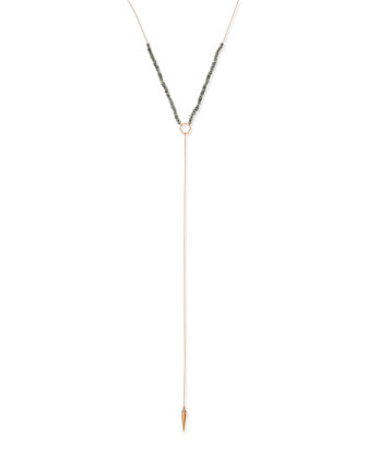 Labradorite Spike Lariat Necklace
