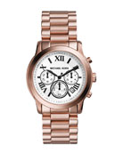 Mid-Size Cooper Rose Golden Stainless Steel Chronograph Watch