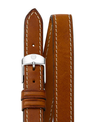 18mm Double-Wrap Leather Strap, Tan