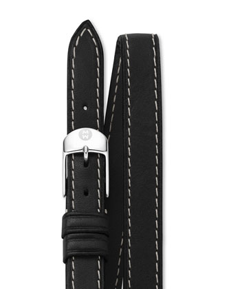 12mm Double-Wrap Leather Strap, Black