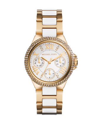 Mini Golden/Acetate Stainless Steel Camille Chronograph Glitz Watch