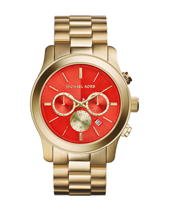 Oversize Golden Stainless Steel Runway Chronograph Watch