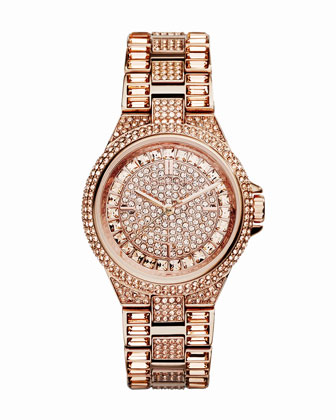 Mini Rose Golden Stainless Steel Camille Three-Hand Glitz Watch