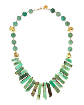 Long Chrysoprase Spike & Gold-Dipped Nugget Necklace