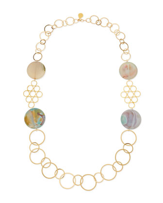 Round Chalcedony Multi-Circle Necklace, Sea Foam