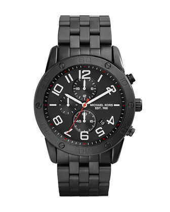 Men's Black Stainless Steel Mercer Chronograph Watch