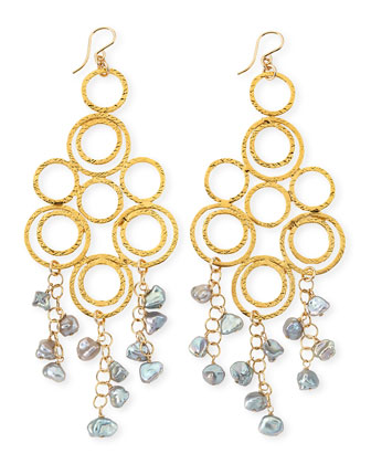 Gray Freshwater Pearl Multi-Circle Chandelier Earrings