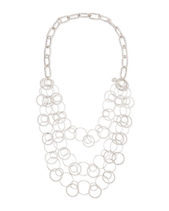 Long Rhodium Electroplate Multi-Circle Necklace