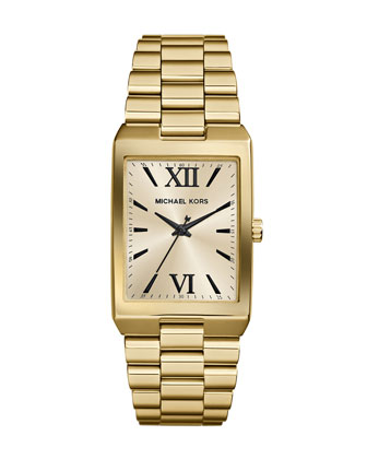 Mid-Size Golden Stainless Steel Nash Three-Hand Watch