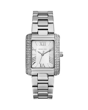 Mini Silver Color Stainless Steel Emery Three-Hand Glitz Watch