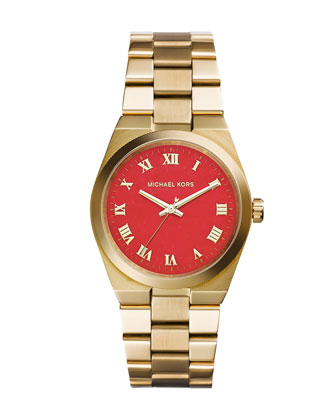 Mid-Size Golden Stainless Steel Channing Three-Hand Watch