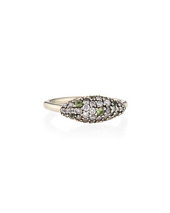 Sterling Silver Gray Diamond & Green Sapphire Marquise Ring