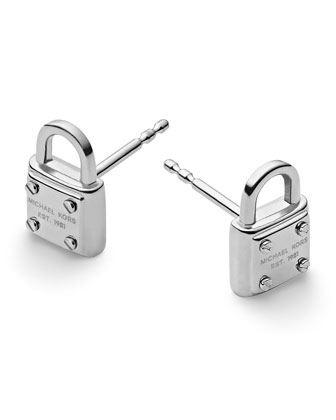 Padlock Logo Stud Earrings, Silver Color