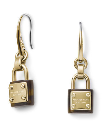Padlock Drop Earrings, Golden/Tortoise