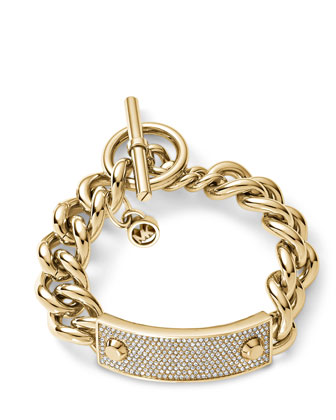 Chain-Link Pave-Plaque Toggle Bracelet, Golden