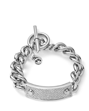 Pave Plaque Toggle Bracelet, Silver Color