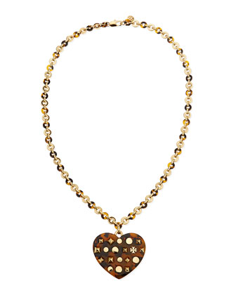 Adeline Tortoise-Heart Pendant Necklace, 30