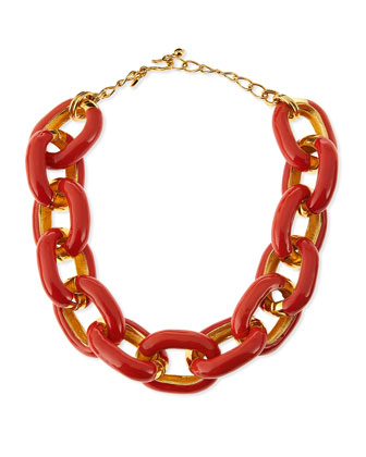 Coral Enamel & Gold-Plated Link Necklace