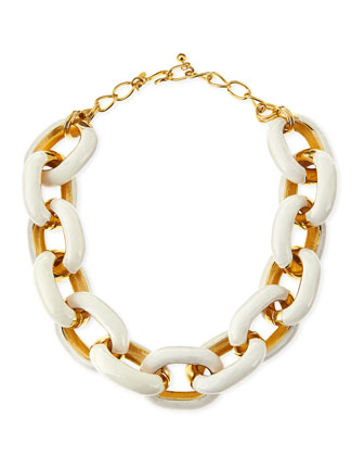White Enamel & Gold-Plated Link Necklace