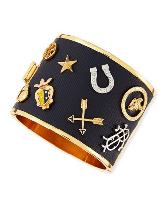 Delora Leather & Charm Cuff Bracelet, Navy