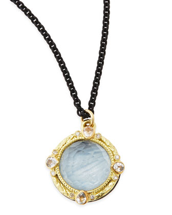 Old World Kyanite & White Quartz Pendant Necklace with Diamonds