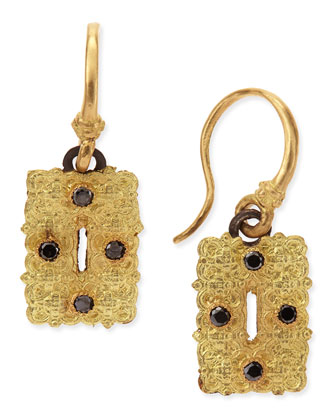 Old World Small Rectangle Scroll Earrings with Black Diamonds